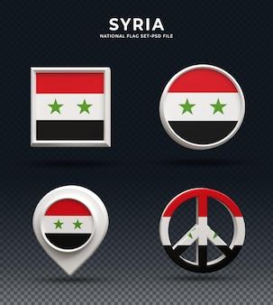 Botão de cúpula de renderização 3d da bandeira da síria e na base brilhante