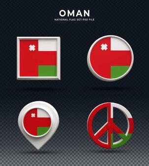 Botão de cúpula de renderização 3d da bandeira de omã e na base brilhante