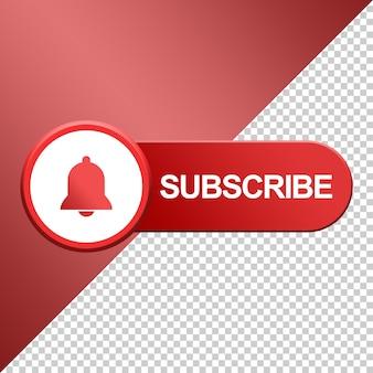 Botão de inscrição com design de sino 3d