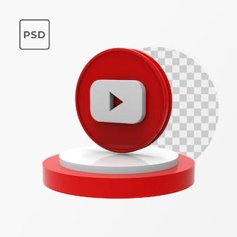 Botão de inscrição do youtube 3d com pódio