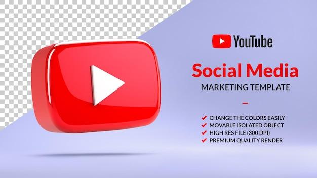 Botão de reprodução isolado do youtube para marketing de mídia social em renderização 3d