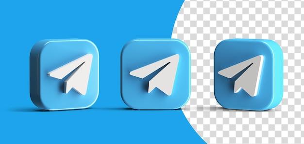 Botão de telegrama brilhante ícone de logotipo de mídia social definido criador de cena 3d render isolado