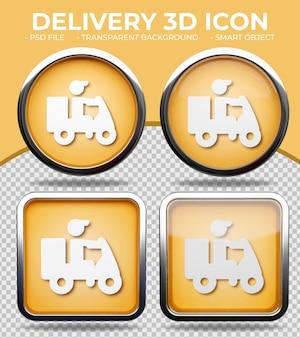 Botão de vidro laranja realista ícone redondo e quadrado brilhante de entregador em 3d