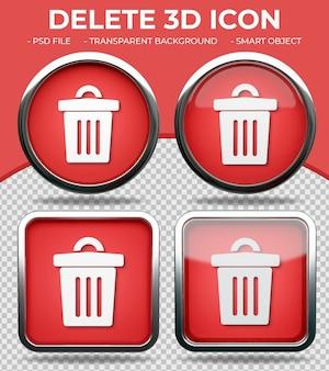Botão de vidro vermelho realista ícone de exclusão 3d redondo e quadrado brilhante