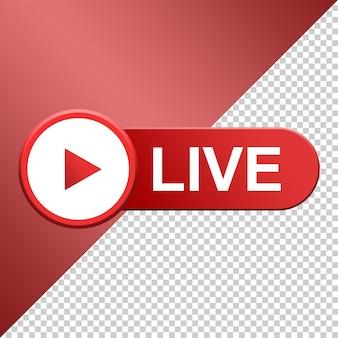 Botão live, mídia social streaming ao vivo 3d