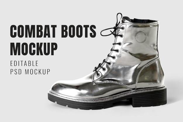 Botas de tornozelo metálicas maquete psd grunge moda