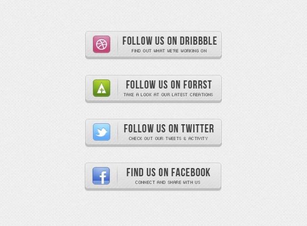 Botões botão facebook cinza retro twitter ui