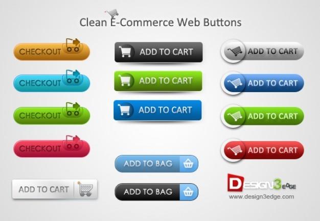 Botões de e-commerce coloridas com carrinhos de compras