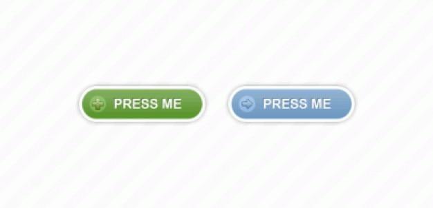 Botões de imprensa em forma de verde e azul