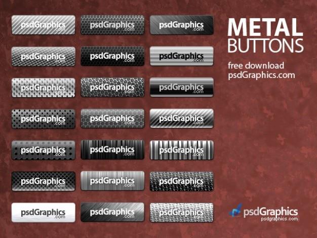 Botões de metal prateado conjunto psd
