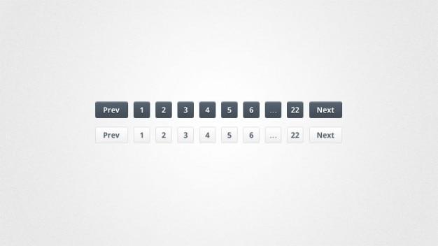 Botões de paginação em preto e branco