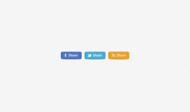Botões emblemas facebook rss mídia social costurado twitter