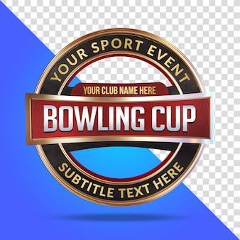 Bowling cup mockup 3d renderização isolada