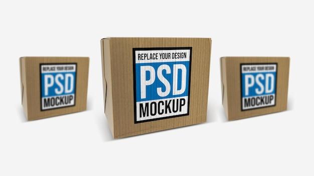 Box mockup 3d rendering design