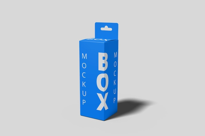 Box mockup vista em ângulo reto