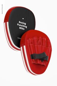 Boxe punching mitts mockup, flutuante