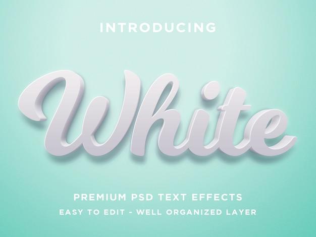 Branco, efeito de texto 3d premium psd