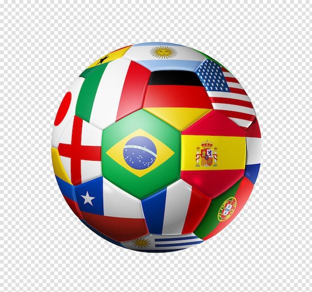 Brasil 2014, bola de futebol de futebol com bandeiras de times do mundo