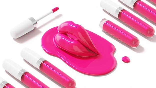 Brilho labial rosa com lábio derretido rosa.