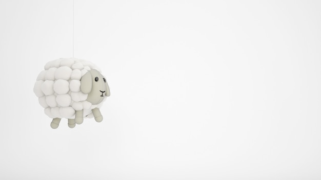 Brinquedo adorável criança de ovelhas de lã com copyspace branco