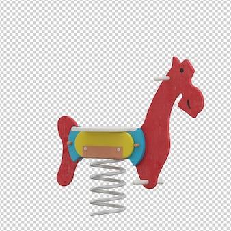 Brinquedo de cavalo garoto isométrico