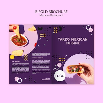 Brochura bifold de comida mexicana colorida