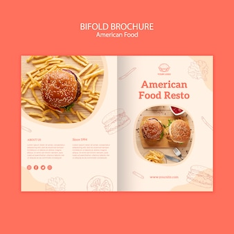 Brochura bifold de conceito de comida americana