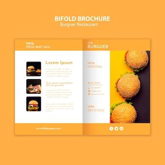 Brochura bifold de restaurante de hambúrguer saboroso