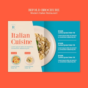 Brochura bifold de restaurante italiano moderno