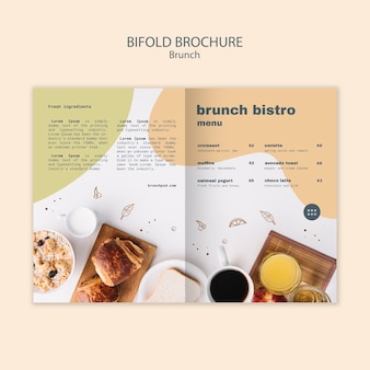 Brochura bifold para menu de brunch bistrô