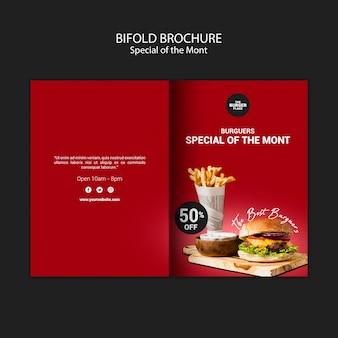 Brochura bifold para restaurante de hambúrguer