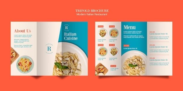 Brochura com três dobras da cozinha italiana