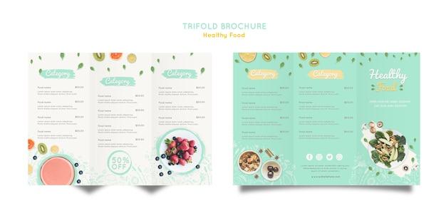 Brochura com três dobras de alimentos saudáveis