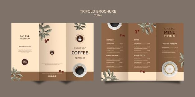 Brochura com três dobras de café
