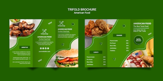Brochura com três dobras de comida americana