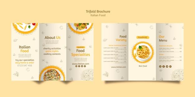 Brochura com três dobras de comida italiana