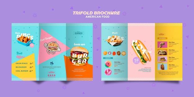 Brochura com três dobras de conceito de comida americana