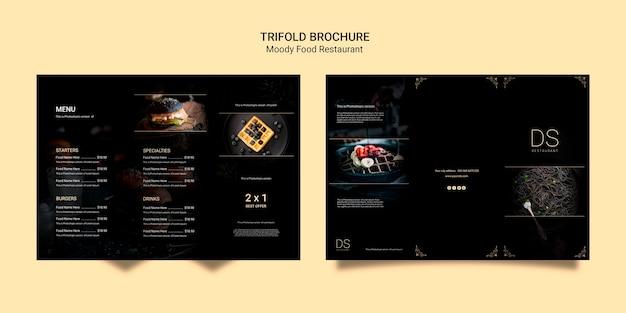 Brochura com três dobras de restaurante de comida temperamental