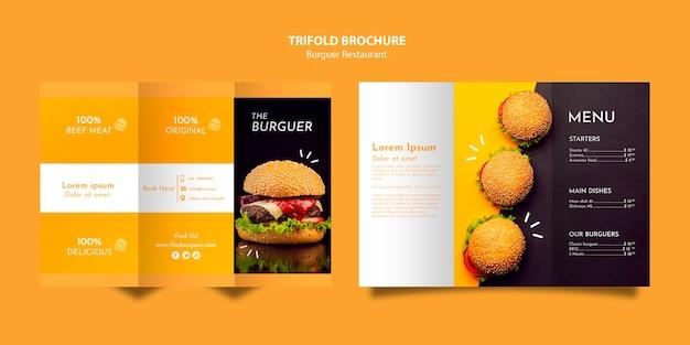 Brochura com três dobras de restaurante saboroso hambúrguer