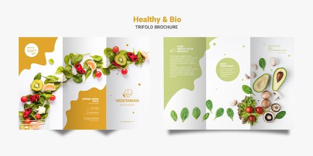 Brochura com três dobras de restaurante vegetariano