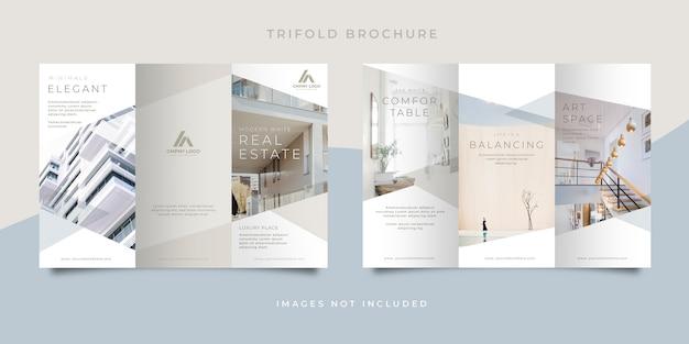 Brochura com três dobras imobiliária branca limpa