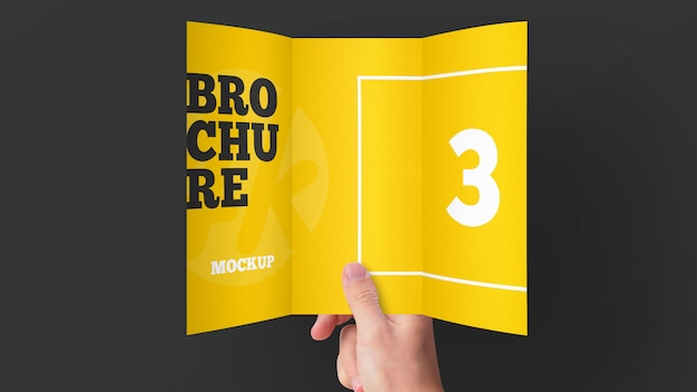 Brochura com três dobras ou maquete de convite