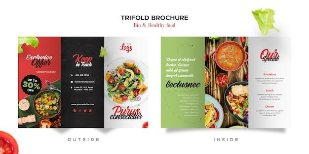 Brochura com três dobras sobre alimentação saudável e bio