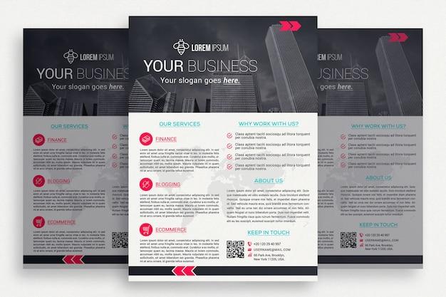 Brochura comercial em preto e branco