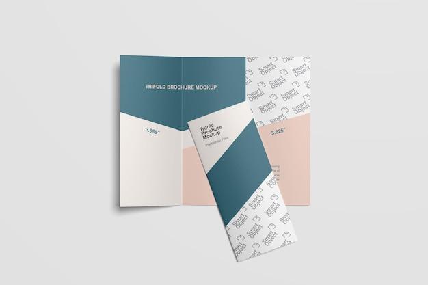 Brochura corporativa com três dobras, vista superior, maquete