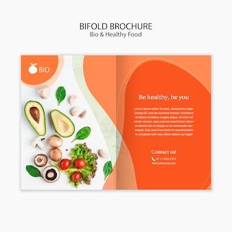 Brochura de bidolf de conceito de comida saudável e bio