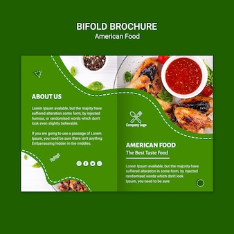 Brochura de comida americana bifold