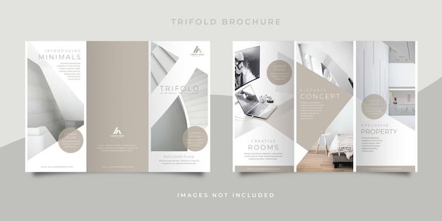 Brochura de design de interiores mínimo com três dobras