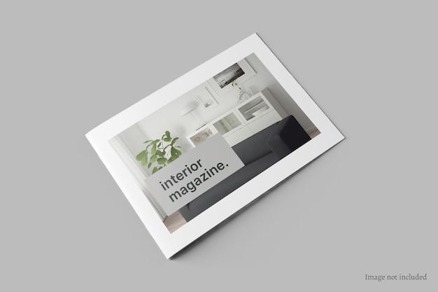 Brochura de paisagem e maquete de capa de catálogo em perspectiva