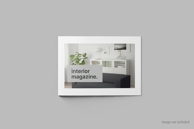 Brochura de paisagem e maquete de capa de catálogo vista superior